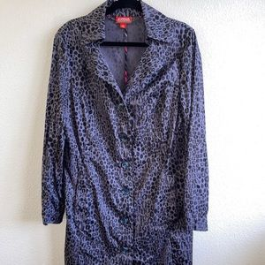 Kirena Zabete Animal Print Trench Coat Jacket